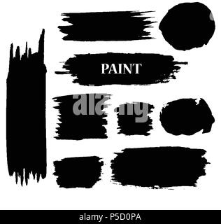 Set of Black ink vector paint stains - Stock Photo