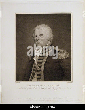 by and published by Burnet Reading, after  Theophilus Clarke, line engraving, published 1799 72 Alan Gardner, 1st Baron Gardner by and published by Burnet Reading, after Theophilus Clarke - Stock Photo