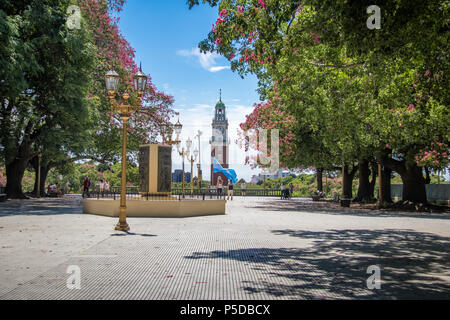 Torre Monumental or Torre de los Ingleses (Tower of the English) and General San Martin Plaza in Retiro - Buen - Stock Photo