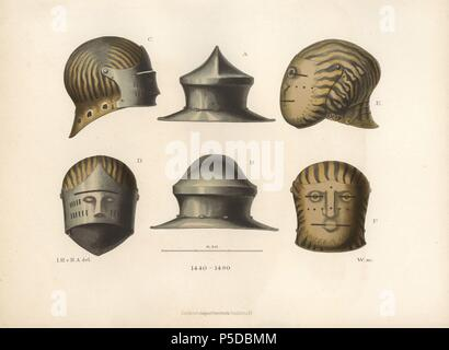 Three helmets from the late 15th century. A kettle hat in the middle, a sallet with visor at left, and a visored helmet decorated with flames at right. Chromolithograph from Hefner-Alteneck's 'Costumes, Artworks and Appliances from the early Middle Ages to the end of the 18th Century,' Frankfurt, 1883. IIlustration drawn by Hefner-Alteneck, lithographed by C. Regnier, and published by Heinrich Keller. Dr. Jakob Heinrich von Hefner-Alteneck (1811-1903) was a German archeologist, art historian and illustrator. He was director of the Bavarian National Museum from 1868 until 1886. - Stock Photo
