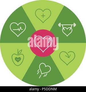 Healthy Heart Icon Wheel - Stock Photo
