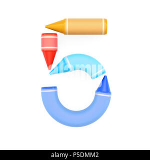 Colored wax crayons assembled like mathematical digit 5 on white background, 3D rendered image for math education and childish typography - Stock Photo