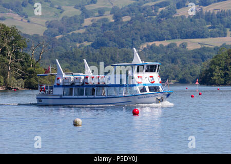 MV Miss Lakeland, one of the Lake Windermere Cruisers, taking tourists on trips around the lake - Stock Photo
