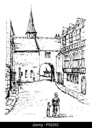 N/A. The 16th.c. 'Dodderidge House' (right) in Cross Street, Barnstaple, Devon, home of Sir John Dodderidge (1555–1628), Justice of the King's Bench. 19th.c. engraving by Jonathan Lomas (prob. of New Mills, Derbyshire), view looking down Cross Street from High Cross toward the West Gate and Chapel of St Nicholas. 19th century. Jonathan Lomas 459 DodderidgeHouseBarnstaple - Stock Photo