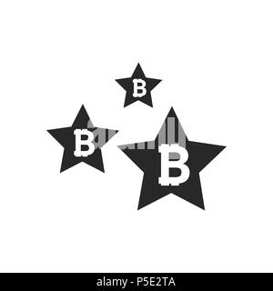 Bitcoin coin with stars. Abstract Falling bitcoin- Black Shooting bitcoin with Elegant Star Trail on White Background - Stars, Bitcoin - Stock Photo