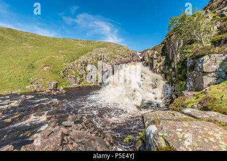 North Pennines AONB Landscape, Cauldron Snout waterfall on the river Tees from the Pennine Way long distance footpath - Stock Photo