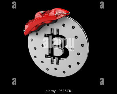 Break disc with silver bitcoin, isolated black 3d Illustration - Stock Photo
