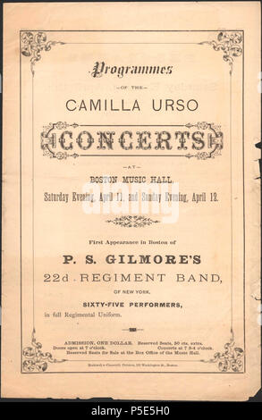 N/A. English: Program cover for the Camilla Urso Concerts at Boston Music Hall, given on April 11 &!2, [1863], and featuring P. S. Gilmore's 22d Regiment Band . April 1863. Unknown 264 Camilla Urso Concerts - Boston Music Hall - U South Carolina - Stock Photo