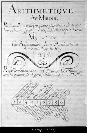 N/A. Français: Page de titre du traité d'Arithmétique d'Alexandre jean, 1636. 12 June 2011. Alexandre Jean 82 AlexandreJean - Stock Photo