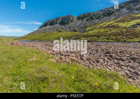 North Pennines AONB Landscape, Cronkley Scar and river Tees from the Pennine Way near Widdybank Farm, Teesdale - Stock Photo