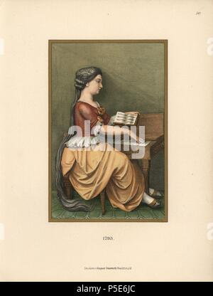 Woman in house clothes playing the piano in 1793. Maria Anna Thecla Rottmaennin with her long hair. Chromolithograph from Hefner-Alteneck's 'Costumes, Artworks and Appliances from the Middle Ages to the 18th Century,' Frankfurt, 1889. Illustration by Dr. Jakob Heinrich von Hefner-Alteneck, lithographed by A. Volkert, and published by Heinrich Keller. Dr. Hefner-Alteneck (1811 - 1903) was a German museum curator, archaeologist, art historian, illustrator and etcher. - Stock Photo