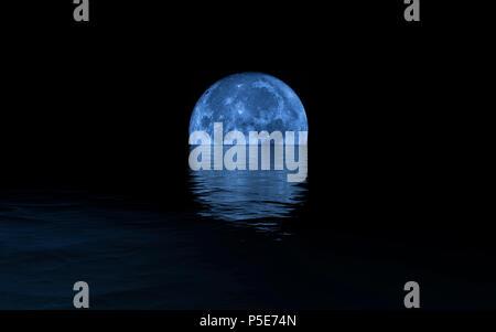 Full Moon Rising Over Calm Sea, blue tones - Stock Photo