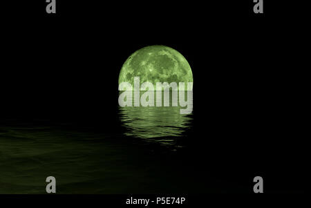 Full Moon Rising Over Calm Sea, green tones - Stock Photo