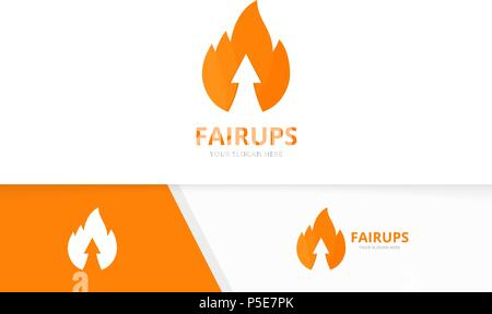 Vector fire and arrow up logo combination. Flame and growth symbol or icon. Unique torch and upload logotype design template. - Stock Photo