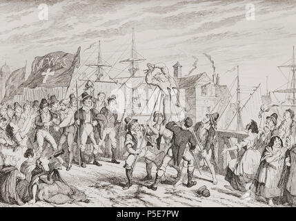 """The Rebels executing their prisoners on the Bridge at Wexford"".  Illustration by George Cruikshank.  A massacre in which United Irishmen piked to death an estimated 100 Loyalists during the 1798 Irish Rebellion.   From History of the Irish Rebellion in 1798; with Memoirs of the Union, and Emmett's Insurrection in 1803 by W.H. Maxwell. Published in London 1854. - Stock Photo"