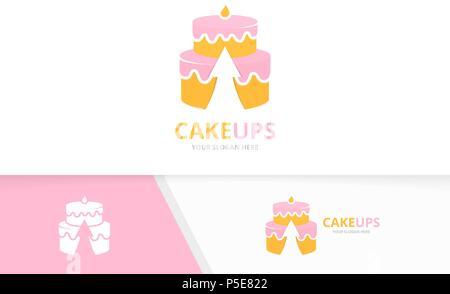 Vector Cake Logo Combination Pie Symbol Or Icon Unique Cupcake