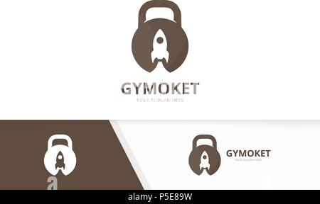 Vector sport and rocket logo combination. Gym and start up symbol or icon. Unique fitness and spaceship logotype design template. - Stock Photo