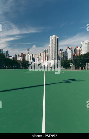 HONG KONG - JUNE 02, 2018: Soccer sports field at park in Hong Kong - Stock Photo