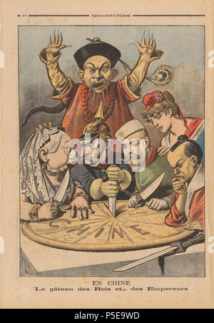 "N/A. English: Caption: ""En Chine - Le gâteau des Rois et... des Empereurs"", (eng.: 'China - the cake of kings and... of emperors'.) French political cartoon from Le Petit Journal published in Le Petit Journal Jan. 16th, 1898. The cartoon is meant to illustrate the imperialist tendencies of these nations towards China: A cake representing China is being divided between caricatures of various foreign rulers. Queen Victoria of the United Kingdom and William II are squabbling over a piece, with the latter thrusting a knife into the pie to illustrate aggressive German behaviour. Czar Nicholas II of - Stock Photo"
