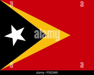 Official national flag of Timor-Leste, Osttimor - Stock Photo