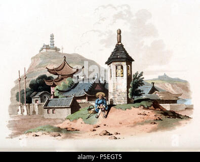N/A. English: Drawing by William Alexander, draughtsman of the Macartney Embassy to China in 1793. A small Chinese temple, commonly called a Joss house, located near the road in front of of the mandarin's residence; a traveler rests nearby. On the hill, there is a military station and a pagoda. Alexander noted that such temples were very commonly seen on the transportation routes such as roads and canals and were erected to extend religious feelings among the Chinese people. They were built either at the public expense, or constructed by charitable wealthy persons. Image taken from The Costume - Stock Photo