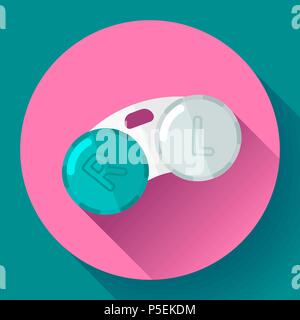 Contact lens case. Container, for contact lenses  Flat icon with long shadow. - Stock Photo