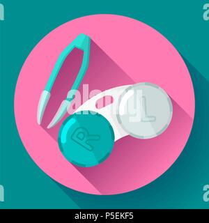 Contact lens case. Container and tweezers, for contact lenses  Flat icon - Stock Photo