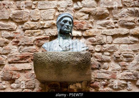 Bust of Durante degli Alighieri (Dante Alighieri), a major Italian poet at House-Museum of Dante, Florence, Tuscany, Italy - Stock Photo