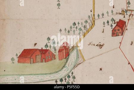 N/A. Nederlands: De havesathe Barlham (detail van een grotere kaart) . October 1657. H. van Gelder 171 Barlham door Van Gelder 1657 (detail) - Stock Photo