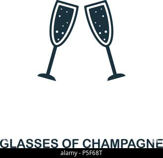 Glasses Of Champagne icon. Line style icon design. UI. Illustration of glasses of champagne icon. Pictogram isolated on white. Ready to use in web design, apps, software, print. - Stock Photo
