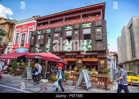 EDIRNE, TURKEY - MAY 01, 2015: interesting two-story house with cafe in Edirne, Turkey