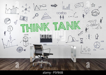 THINK TANK concept in a corporate business with an empty work station in an office with assorted business and performance icons hand drawn on the wall - Stock Photo