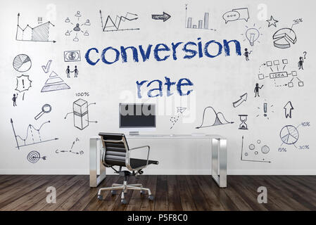 Conversion rate concept in a corporate business with an empty work station in an office with assorted business and performance icons hand drawn on the - Stock Photo
