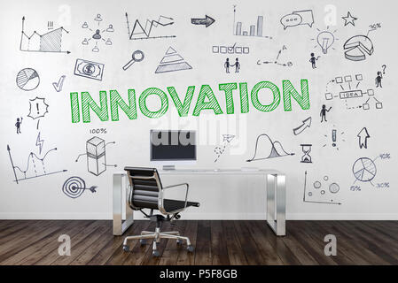 Innovation concept in a corporate business with an empty work station in an office with assorted business and performance icons hand drawn on the wall - Stock Photo