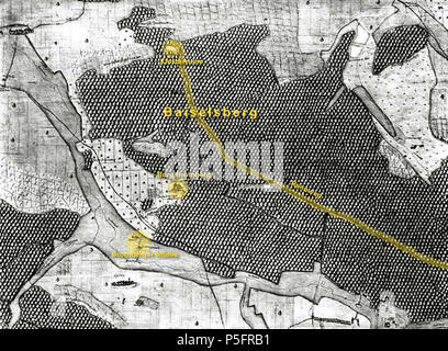 """N/A. Deutsch: Baiselsberg mit Klosterruine, Rennweg, Burg Bromberg, Melkerei und Bromberger Mühle auf der Kieserschen Forstkarte. Originaltitel des Landesmedienzentrums: """"Spilberg (Spielberg)"""" (Nr. 98). Originalbeschreibung: """"Ansicht vom ehem. Schloss Bromberg. Mit Melkerei und Bromberger Mühl und Steg. Mit Under Haslach (Niederhaslach)."""" . 1684 (2015). P. Fendrich (Bearbeitung) 20 1684 Kiesersche Forstkarte 98 Spilberg beschriftet - Stock Photo"""