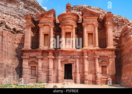 The Monastery in the Lost City of Petra, Jordan - Stock Photo