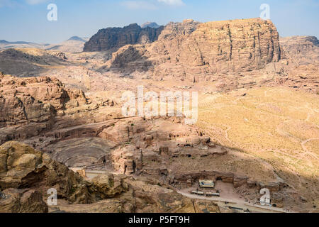 Panoramic view of the tombs and the Roman theater in the Lost City of Petra, Jordan - Stock Photo