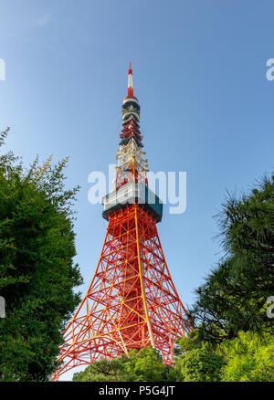 Tokyo Tower in downtown Tokyo, Japan, Asia - Stock Photo
