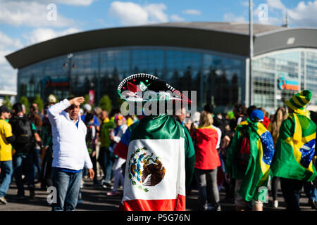 Fans gather in Russia during the 2018 FIFA World Cup - Stock Photo