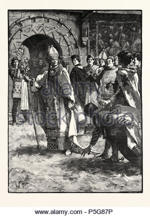 BECKET BEFORE HIS ENEMIES IN THE COUNCIL HALL AT NORTHAMPTON. - Stock Photo