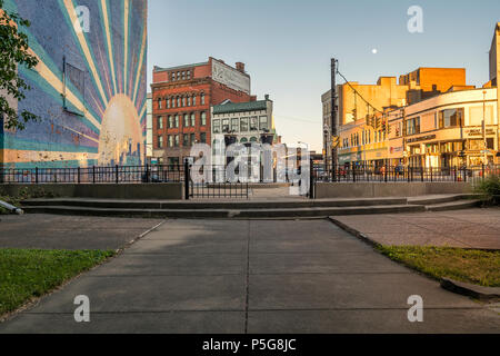 UTICA, NY, USA - JUNE 25, 2018: Liberty Bell Corner Park in Utica, New York. - Stock Photo