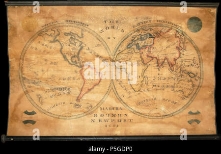 1833 School Girl Manuscript Wall Map of the World on Hemisphere Projection (Marcia Rounds of Newport - Geographicus - World-rounds-1833.