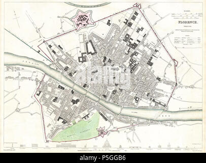 1835 S D U K City Map Or Plan Of Florence Or Firenze Italy Stock