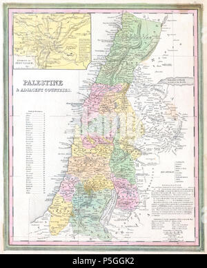 1836 Tanner Map of Palestine - Israel - Holy Land - Geographicus - Palestine-tanner-1836. - Stock Photo