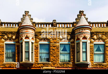 Historic Victorian Commercial Architecture With Turrets Arches
