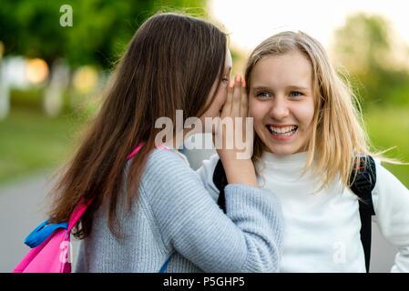 In summer city park. Two girl friends schoolgirls teenagers. Concept of joke, secret, fantasy, conversation, whisper, surprise. Emotion of happiness is pleasure, joy, smile, pleasure.After school. - Stock Photo