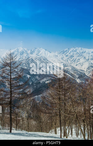 Hakuba ridge in spring. It is famous of the venue for The Nagano Winter Olympics. This area is very popular as ski resort for foreigners. - Stock Photo