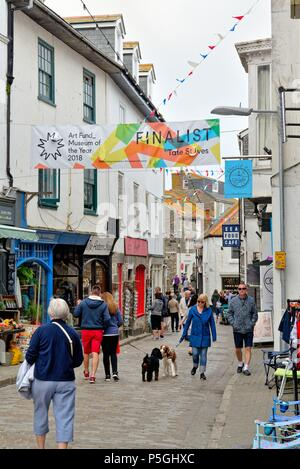 Busy Fore Street in the town centre of St.Ives Cornwall England UK - Stock Photo