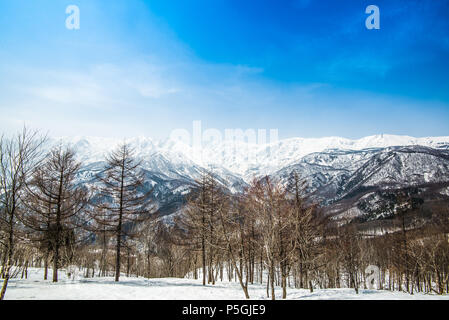 Hakuba ridge in spring. It is famous of the venue for The Nagano Winter Olympics. This area is very popular as ski resort for foreigners. Especially, - Stock Photo