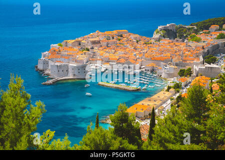 Panoramic aerial view of the historic town of Dubrovnik, one of the most famous tourist destinations in the Mediterranean Sea, from Srd mountain - Stock Photo